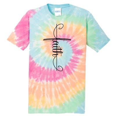Faith Tie-Dye Tee - Pastel Rainbow