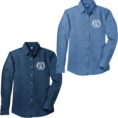 Monogrammed Ladies Long Sleeve Denim Shirt