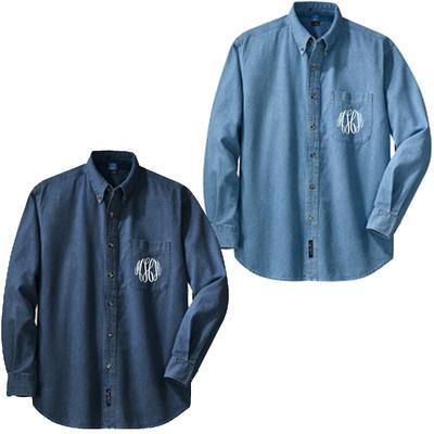 Monogrammed Long Sleeve Denim Shirt