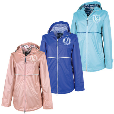 Monogrammed Charles River Rain Jacket With Print Lining