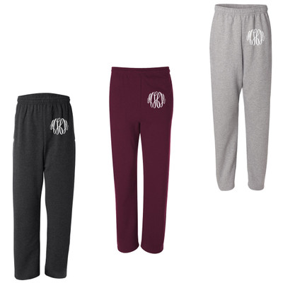 Monogrammed Open Bottom Sweatpants With Pockets