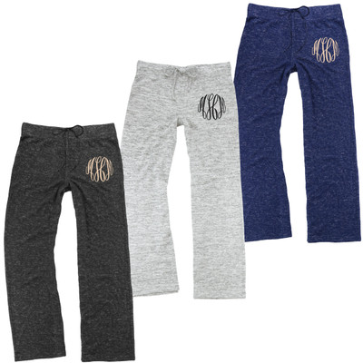 Monogrammed Cuddle Wide Leg Pants