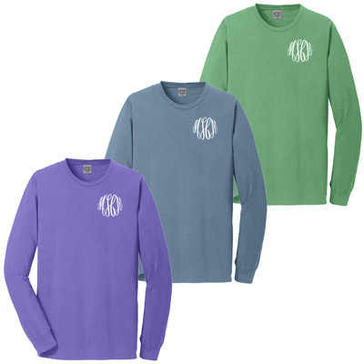 Monogrammed Pigment Dyed Long Sleeve Tee