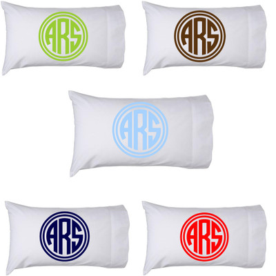Personalized Pillowcase Circle Monogram - Choose Your Own Color