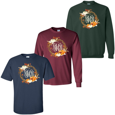 Monogrammed Fall Wreath Tee Shirt
