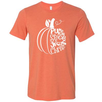 Pumpkin Spice and Jesus Christ Bella Canvas Graphic T-Shirt - Heather Orange