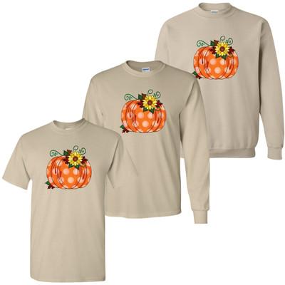 Polka Dot Pumpkin With Sunflower Tee