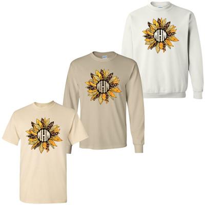 Monogrammed Leopard Sunflower Tee