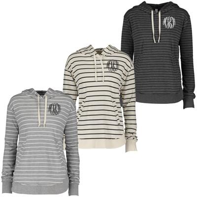 Monogrammed Stripe Pullover Hoodie