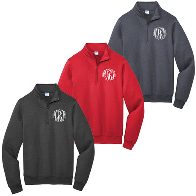 Monogrammed Fleece Quarter Zip Pullover