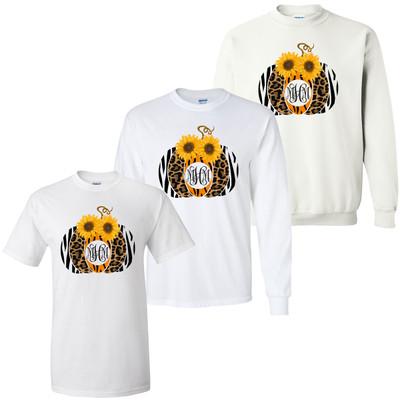 Monogrammed Animal Print Pumpkin With Sunflower Graphic Tee Shirt