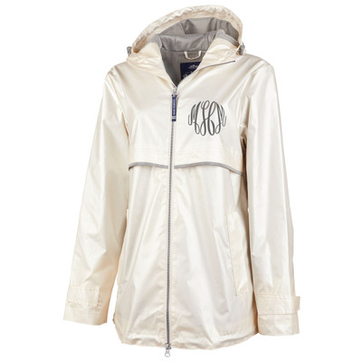 Monogrammed Charles River Metallic Rain Jacket