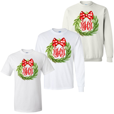 Monogrammed Christmas Wreath With Bow Graphic Tee Shirt