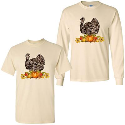 Leopard Turkey With Pumpkins Tee Shirt - Natural