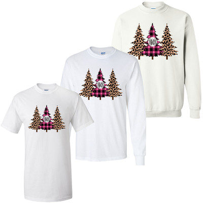 Monogrammed Leopard And Plaid Trees Graphic Tee Shirt