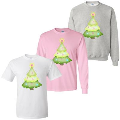 Monogrammed Pastel Christmas Tree T-Shirt