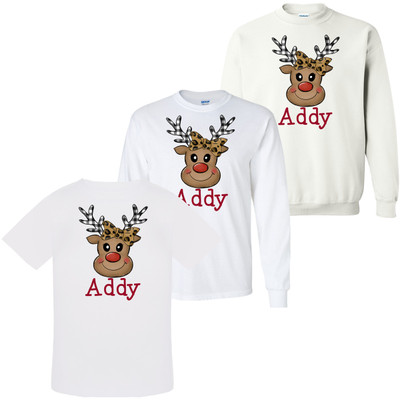 Personalized Leopard And Plaid Reindeer Face Graphic Shirt