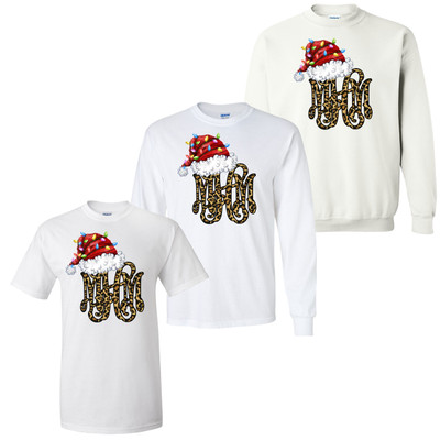 Leopard Monogram With Santa Hat And Lights Graphic Shirt