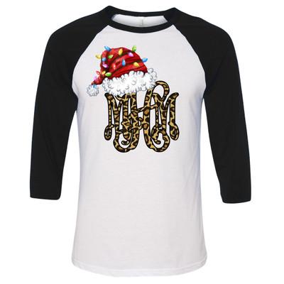 Leopard Monogram With Santa Hat And Lights Raglan Shirt