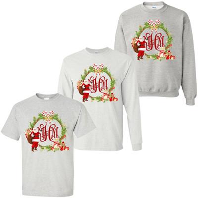 Monogrammed Christmas Santa Wreath T-Shirt