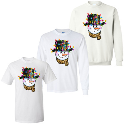 Snowman With Leopard Scarf And Christmas Lights Graphic Shirt