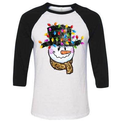 Snowman With Leopard Scarf And Christmas Lights Raglan Shirt