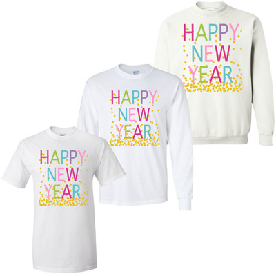 Happy New Year Confetti Graphic Tee