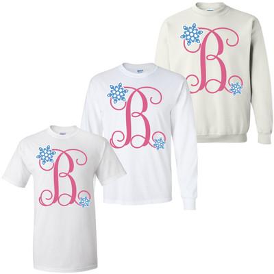 Monogrammed Snowflake Initial Graphic Shirt
