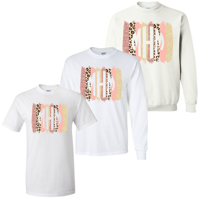 Monogrammed Leopard Brush Strokes Graphic Shirt