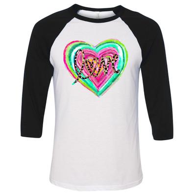 Leopard Love Heart Graphic Raglan Tee - Black