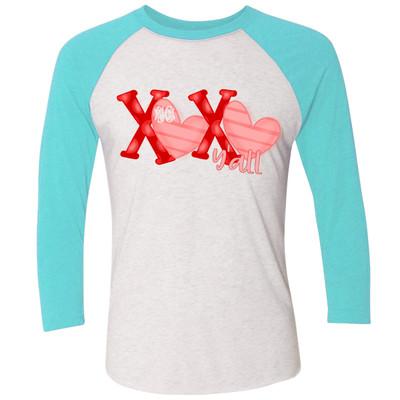 Monogrammed XOXO Yall Raglan Tee - Tahiti Blue
