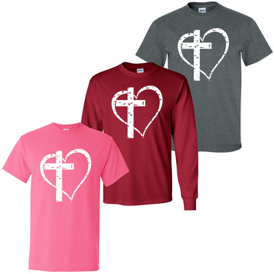 Distressed Heart With Cross Shirt