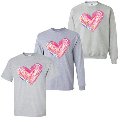 Multi Color Heart Valentine Shirt - Sport Gray