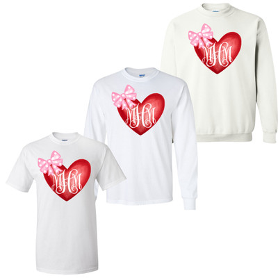 Monogrammed Watercolor Heart With Polka Dot Bow Graphic Tee