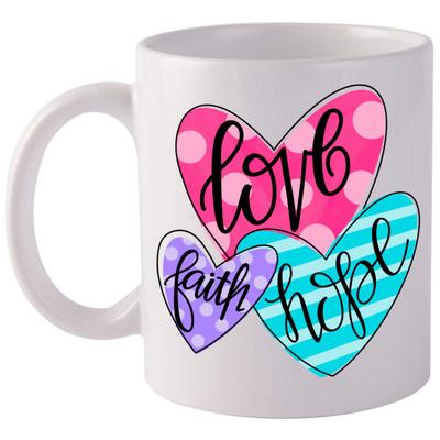 Faith Hope Love Hearts Coffee Mug