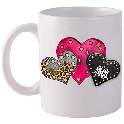 Monogrammed Heart Trio Coffee Mug