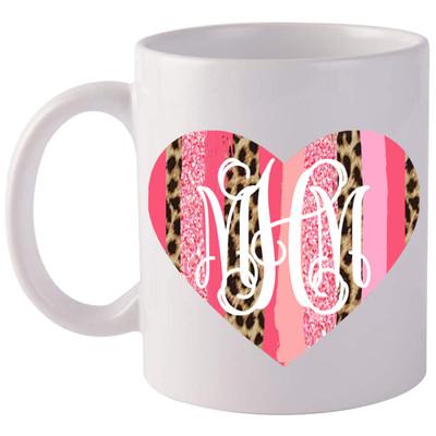 Monogrammed Brush Stroke Heart Coffee Mug