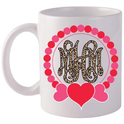 Leopard Monogrammed Heart Wreath Coffee Mug