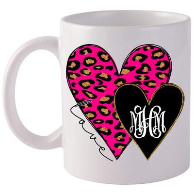 Monogrammed Pink Leopard And Black Heart Coffee Mug