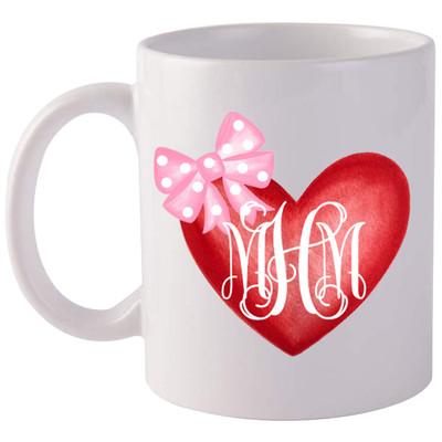 Monogrammed Watercolor Heart Coffee Mug