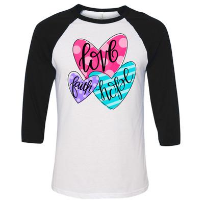 Faith Hope Love Hearts Graphic Raglan Tee - Black