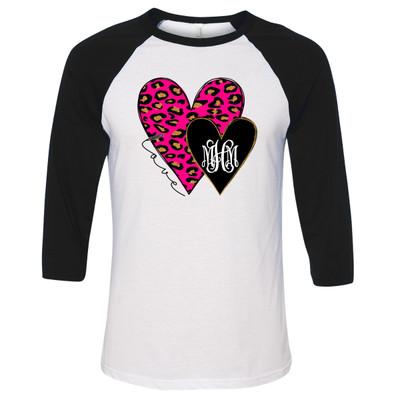 Monogrammed Pink Leopard And Black Hearts Graphic Raglan Tee - Black