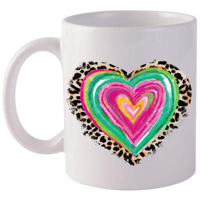Colorful Heart With Leopard Coffee Mug