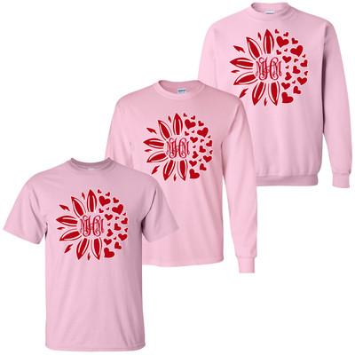 Monogrammed Valentine Flower T-Shirt - Light Pink