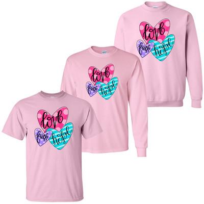 Faith Hope Love Hearts T-Shirt - Light Pink