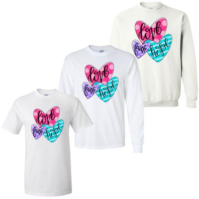 Faith Hope Love Hearts Graphic Tee