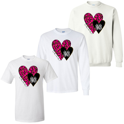 Monogrammed Pink Leopard And Black Hearts Graphic Tee