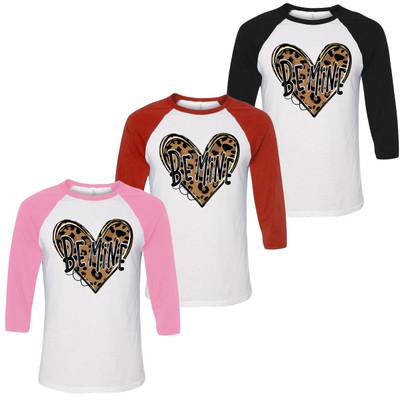 Be Mine Leopard Heart Graphic Raglan Tee