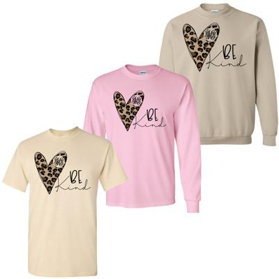 Monogrammed Be Kind Leopard Heart Shirt