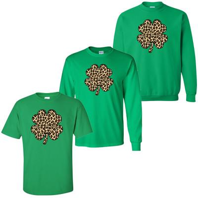 Leopard Shamrock T-Shirt - Irish Green